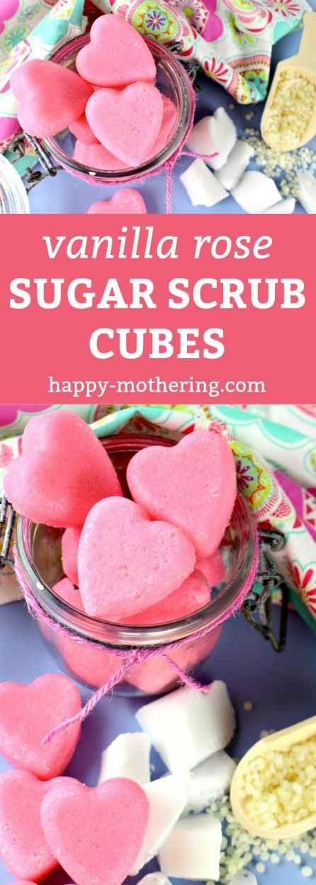 Are you looking for the best DIY sugar scrub cube recipe to gift for Valentine's Day? Our Vanilla Rose Exfoliating Sugar Scrub bars feature yummy essential oils, are natural and easy to make, smell amazing and leave your skin feeling smooth, clean and moisturized! Sugar scrub cubes are one of my favorite homemade beauty products! #sugarscrub #sugarscrubcubes #diybeauty #valentinesday #giftideas via @happymothering
