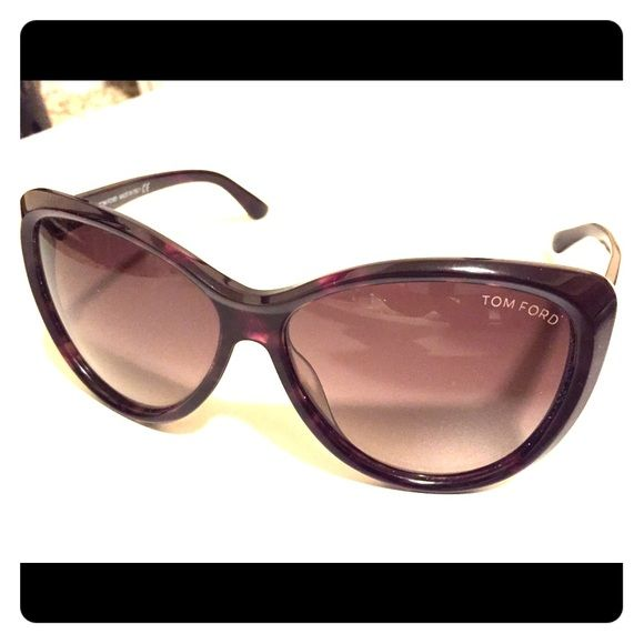 Tom Ford women's sunglasses Frames are purple/brown tortoiseshell, lenses are two toned (not polarized). This style is no longer made, but Tom Ford Telma's are similar and retail for $405. They simply don't fit my face well. Have been worn only 2-3 times. Have one tiny scratch on the bottom of one lense (I can't get a great picture of it). No longer have original packaging. Tom Ford Accessories Sunglasses