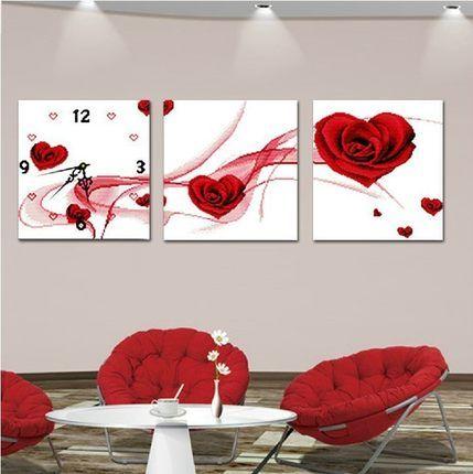 Калико светящиеся часы точные узоры шелковых роз вторую половинку новый зал картины горячее сердце груза
