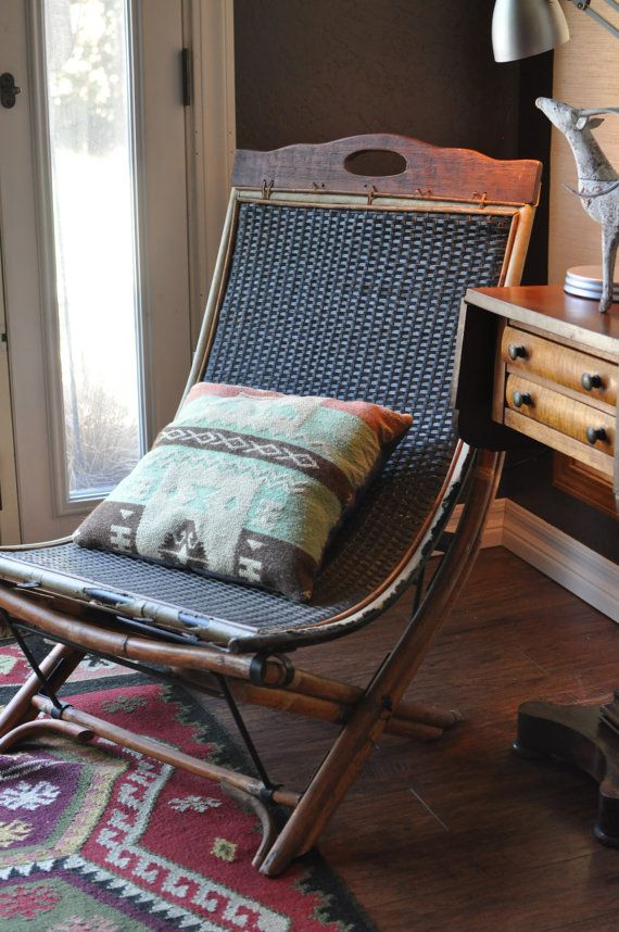 Vintage Rustic Sling Chair Woven Leather Bamboo And Metal