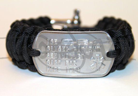 Medical Alert ID Dog Tag King Cobra 550 Paracord Survival Strap Bracelet with ADJUSTABLE Stainless Steel Shackle