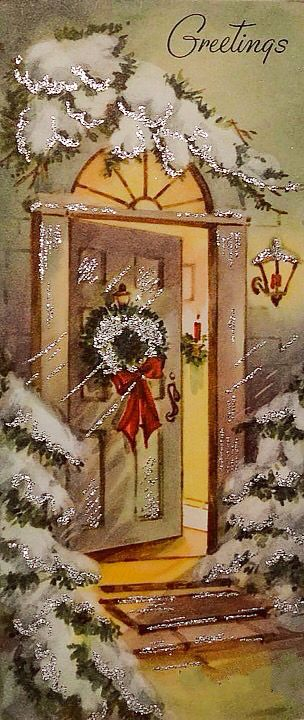 952 50s glittered welcoming front door scene vintage christmas card greeting