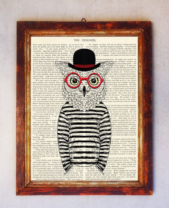 Owl Art Print Owl with Glasses Print Owl Wall Art Book Art