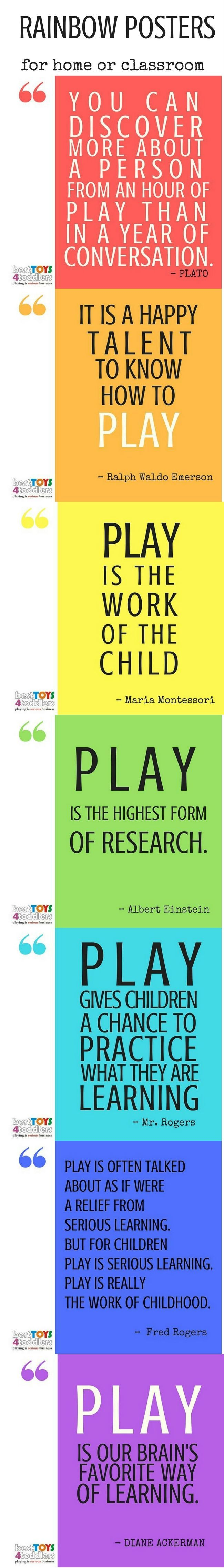Free download - Rainbow posters with quotes about the importance of play in an early childhood (preschool, kindergarten or homeschool)