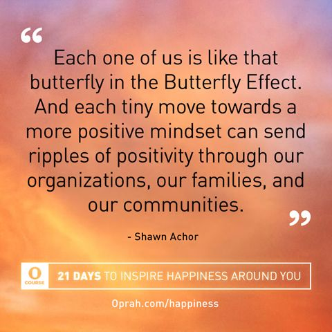 """""""Each one of us is like that butterfly in the Butterfly Effect. And each tiny move towards a more positive mindset can send ripples of positivity through our organizations, our families, and our communities."""" — Shawn Achor"""