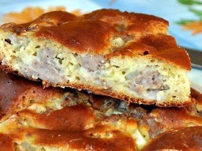заливной пирог с мясным фаршем из жидкого теста на кефире. Рецепт