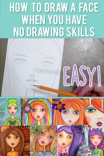 Video ♥ How to draw a face when you have no drawing skills - Easy Tutorial   Bella Rose Creative ♥   mixed media art journal tutorial, process, techniques, how to draw a face, mixed media girls, whimsical girl mixed media, tutorial, beginner, easy, face illustration, whimsical, pretty, face, drawing, portrait, face drawing tutorial, watercolor, cute face drawing, mixed media girl