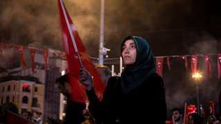 Supporters of Turkish President Recep Tayyip Erdogan at rally in Taksim Square, Istanbul. 19 July 216