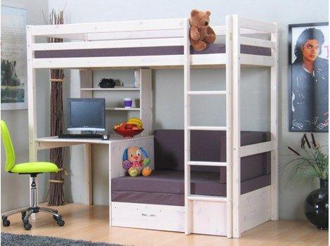Thuka Kids våningssäng med bäddsoffa, förvaring och skrivbord.   Visar soffa.
