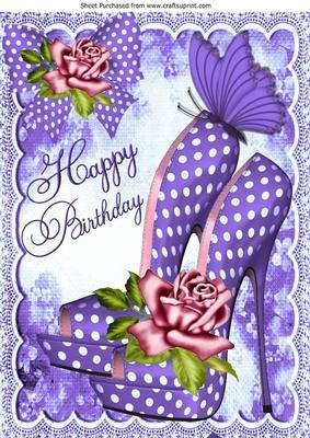 Pretty purple polka dot shoes with roses for birthday A4 on Craftsuprint - Add To Basket!