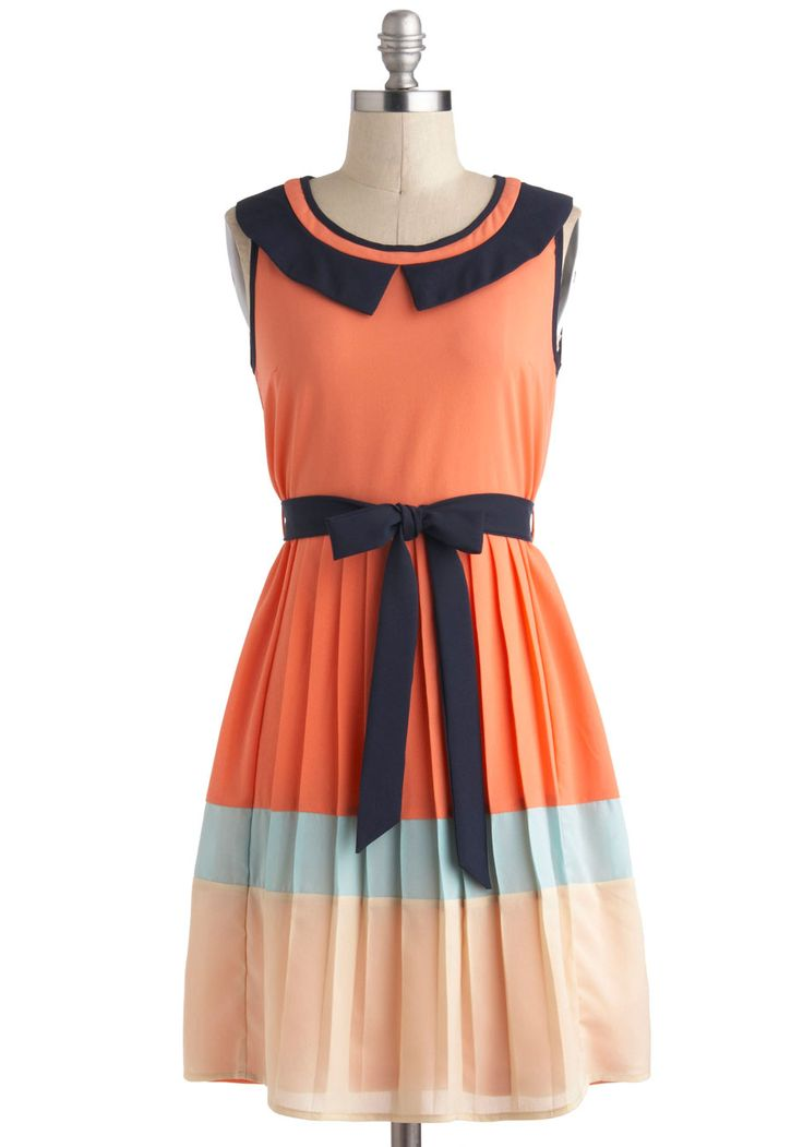 Fun in the Sunset Dress - Mid-length, Orange, Blue, White, Pleats, Belted, Work, Casual, A-line, Sleeveless, Colorblocking, Collared, Vintage Inspired, 30s