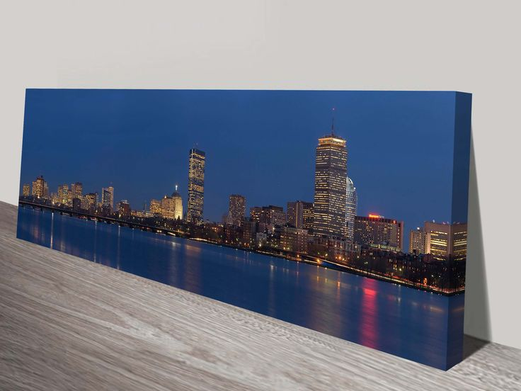 Boston Skyline panoramic photo on canvas, New york canvas art print, online gallery, cheap canvas prints brisbane