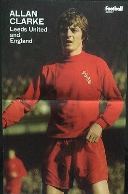 1973 STUNNING A3 Football picture poster ALLAN CLARKE Leeds Utd In Red Kit