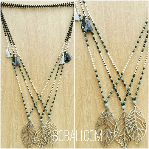 tassels necklace pendant bronze leaves - tassels necklace pendant bronze leaves
