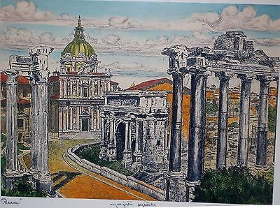 Ancient Rome Ruins by Artist Bela Sziklay 17 x 15  #signed #art #gallery #sziklay
