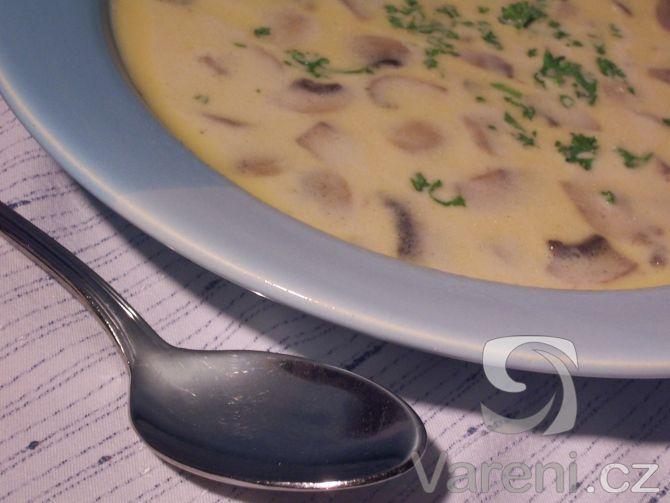 Rychlá polévka připravená ze žampionů a smetany.