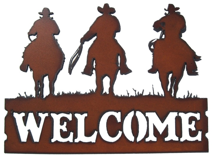 Rustic Recycled Metal Cowboy Outlaw Western Welcome Sign 20 00 Via