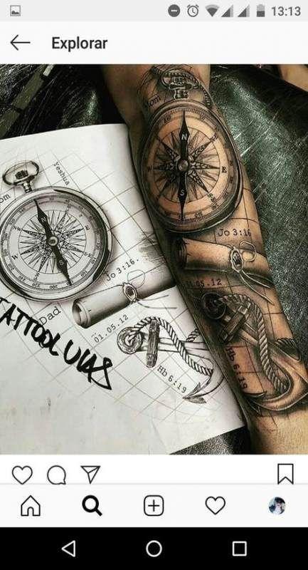 Neue Tätowierung für Männer Compass Halbarm Ideen