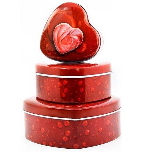 Sevdiklerinize vereceğiniz hediyeleri hem şık hem de çok romantik kutular içerisinde vermeye ne dersiniz? Üstelik 3lü Kalp Metal Kutular kırmızı güllü ve çiçekli olmak üzere 2 farklı modele sahip.