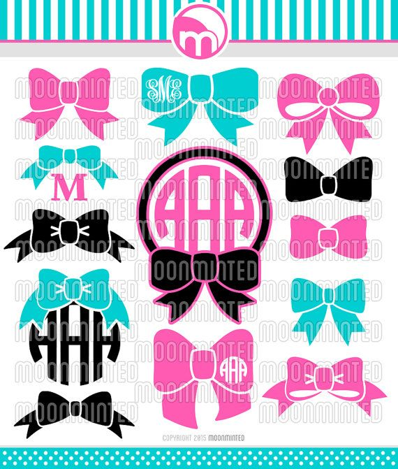 Bow SVG Cut Files Monogram Frames for Vinyl Cutters by MoonMinted