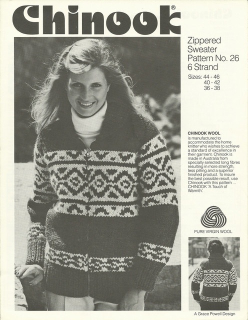Vintage Chinook Cowichan Sweater Patterns.  The pictures are a little dated, but the sweaters are still popular.