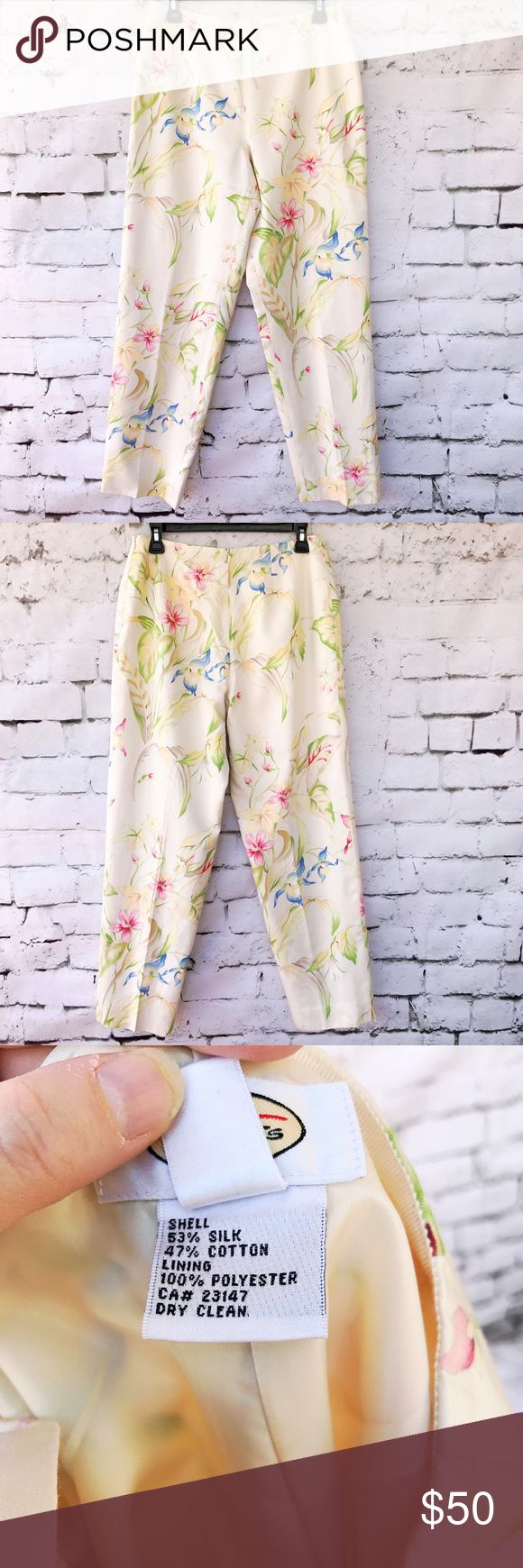 Talbots Silk Dressy Cream Floral Pants This item is used however it has no known flaws, rips (with the exception of one pin hole on right leg) or stains.  Please see pictures for material and measurements.  Welcome to make an offer unless item says firm in title.  Has been discounted for pin hole. Talbots Pants