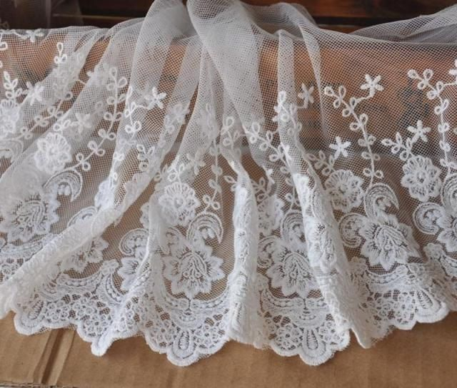 Great  Yard Vintage Wide Ivory Tulle Embroidery Lace Flowers Trim Lace Wedding Dress Fabric DIY Handmade