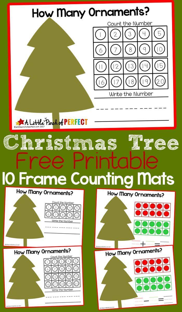 Christmas Tree 10 Frame Math Mats Free Printable Christmas Math Printables Christmas Kindergarten Kindergarten Christmas Activities
