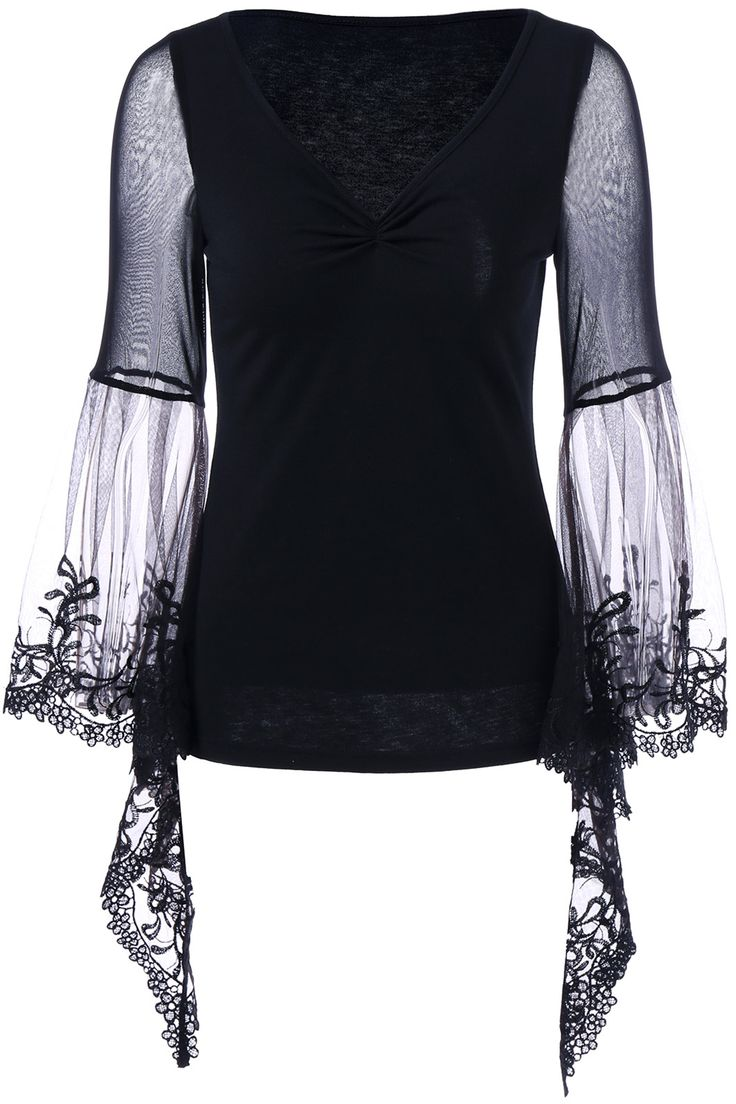 $12.75 Flare Sleeve Lace Trim T-Shirt - Black