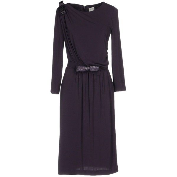 Armani Collezioni Knee-length Dress (1.630 BRL) ❤ liked on Polyvore featuring dresses, purple, jersey dresses, long sleeve jersey, long sleeve day dresses, purple long sleeve dress and purple dresses