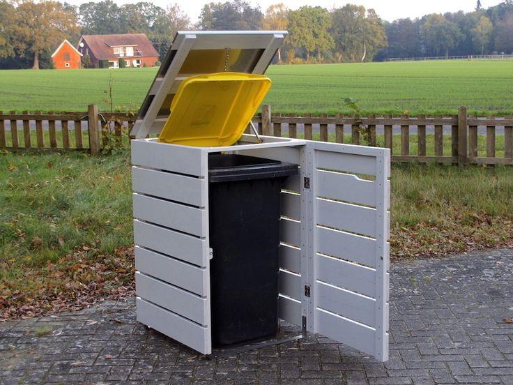 1er Mülltonnenbox / Mülltonnenverkleidung Holz mit Edelstahl - Deckel für 120 L & 240 L Mülltonnen, Oberfläche: Lichtgrau