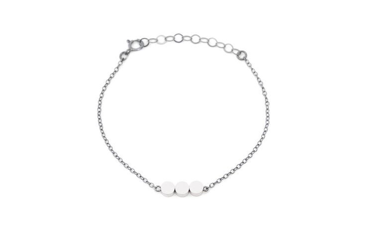Minimalist oxidized silver bracelet matte silver beads