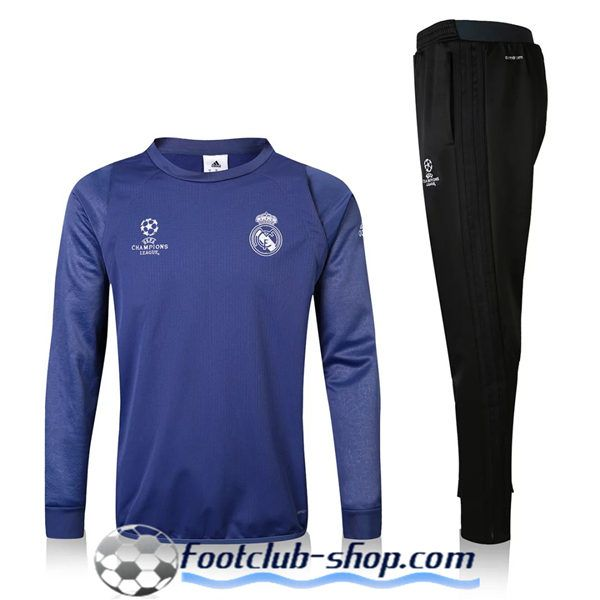 Nouveau Champions Survetement Velours de foot Real Madrid Bleu 2016 2017