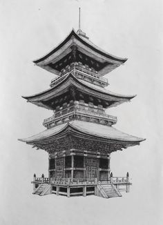 japanese buildings drawing - Google Search