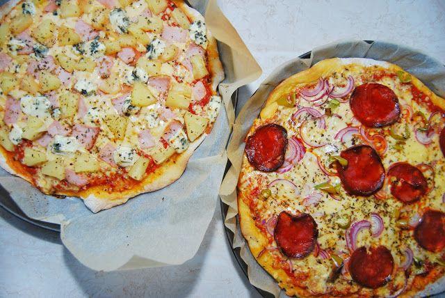 Hawaiian and Pepperoni Pizza. Erispy crust pizza recipe. Easy homemade pizza recipe