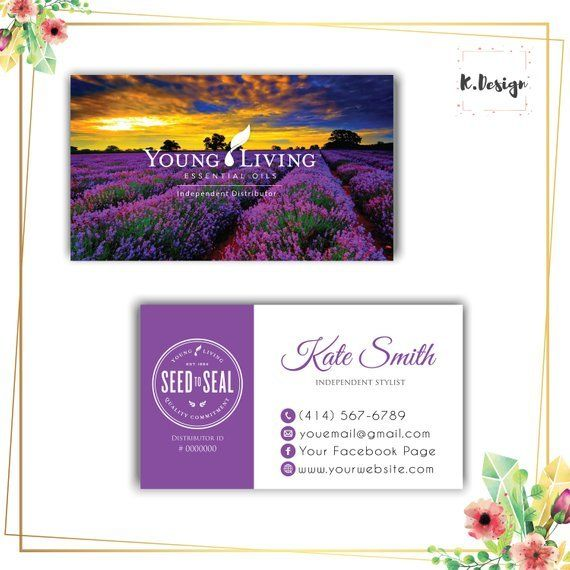Lavender Young Living Business Card Young Living Business Cards