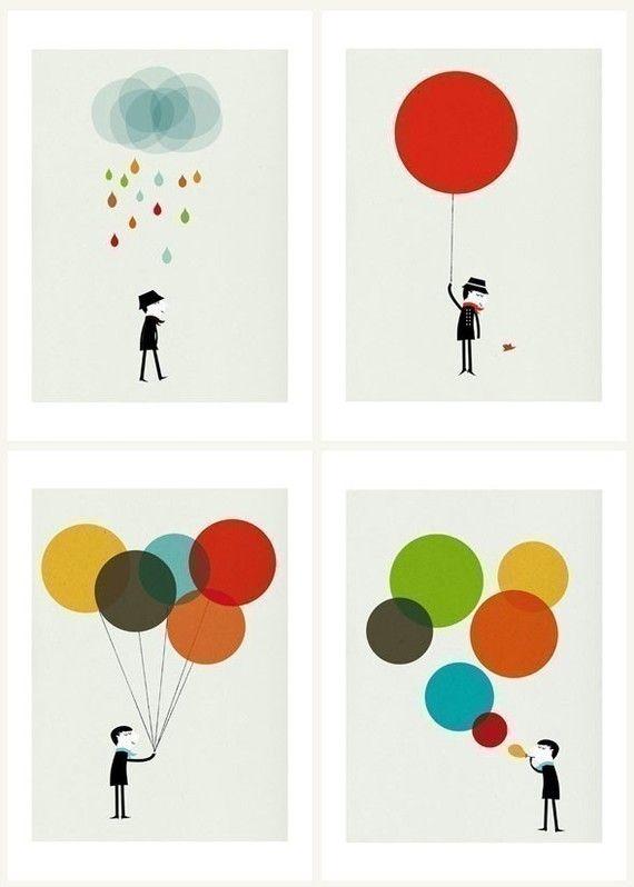 Monsieur set of four prints by Blanca Gomez
