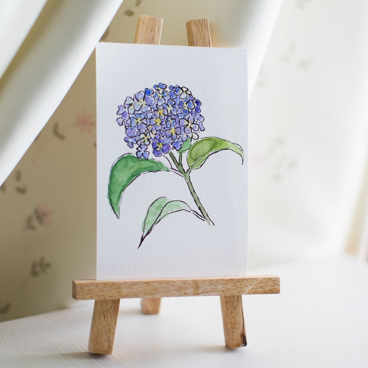 hydrangea, flower, flowers, sumi-e, ink painting, chinese ink painting, postcard, etegami, handmade postcard, hand drawn postcard, watercolor, gansai color