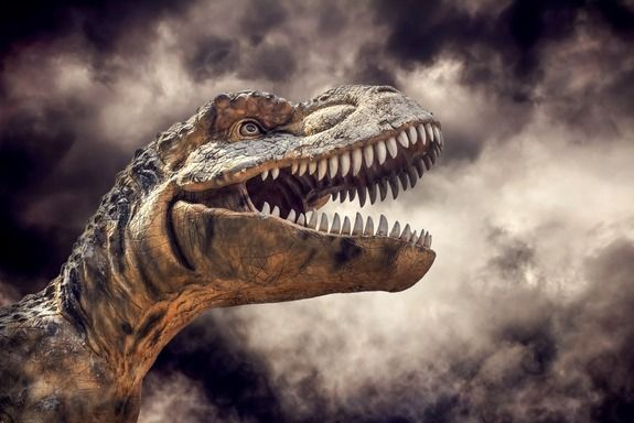 Is It Possible to Clone a Dinosaur?   An illustration of a T. rex head in a storm.