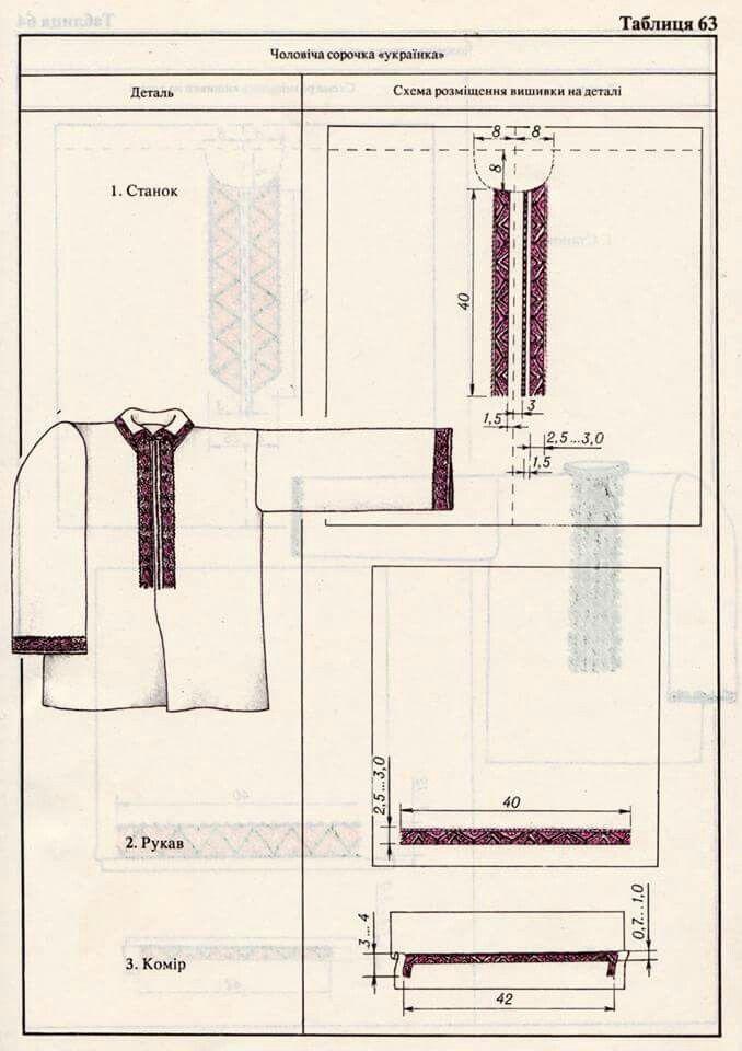 Схема розміщення вишивки на чоловічій сорочці