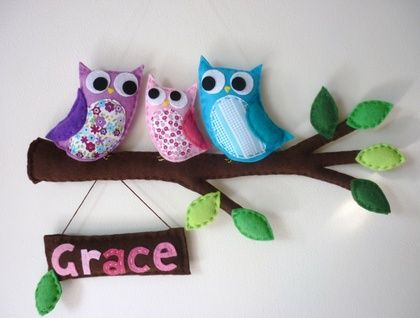 Personalised Owl Family, Mum, Dad and Baby - Bedroom Door Sign or Wall Hanging