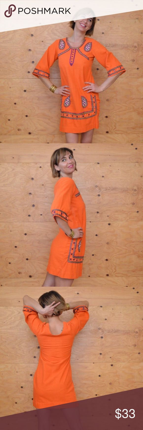 Beautiful Embroidered Orange India Tunic Dress S DESCRIPTION.... Beautifully orange cotton indian dress with lovely purple green and white paisley detail. 3/4 sleeves, scoop neck, a-line skirt, mini length, mirror detail. Great gypsy indian style and detail perfect for burning man or festival event. Dresses Mini