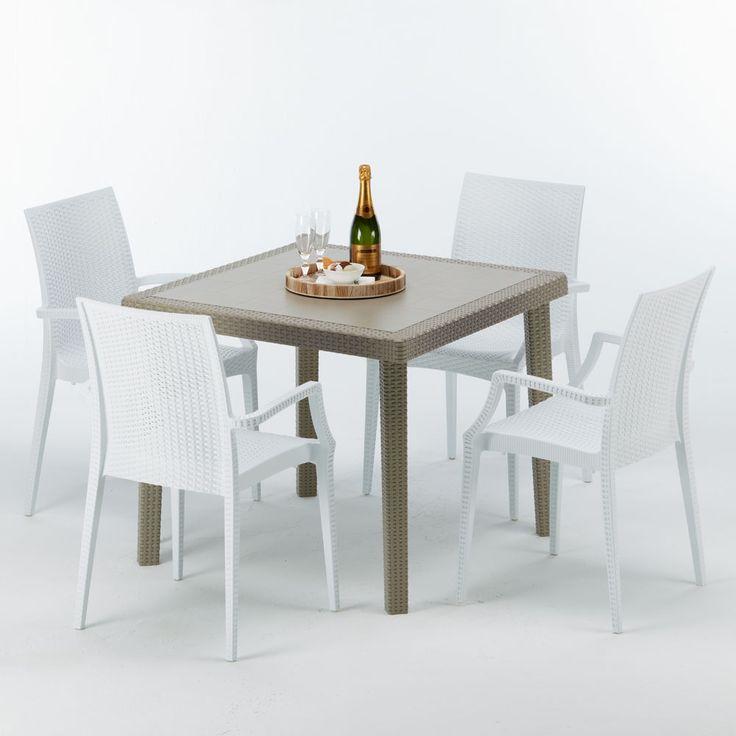 Rotin Table Carrée Poly Beige4 Chaises Synthétique Colorées w80OPnXNk