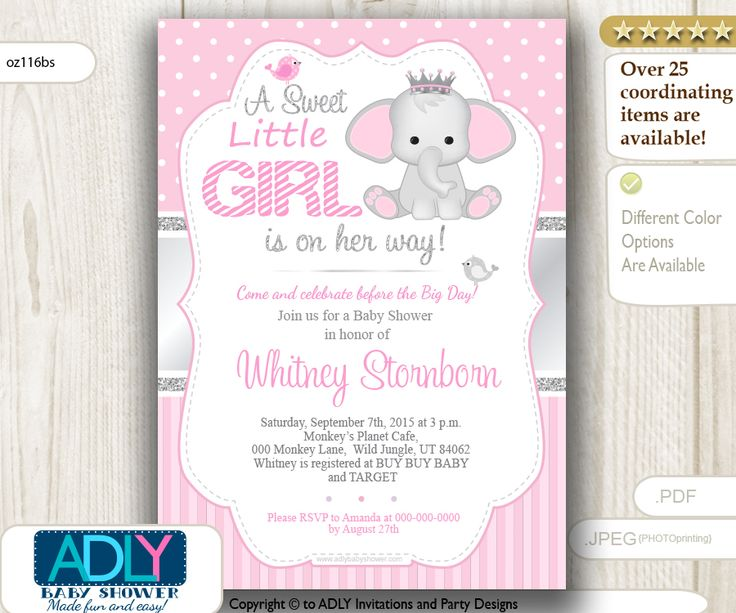 ADLY Invitations and Digital Party Designs - Little Girl Elephant Invitation for Baby Shower, Polka, Stripes, Grey, Silver, $14.00 (http://www.adlybabyshower.com/little-girl-elephant-invitation-for-baby-shower-polka-stripes-grey-silver/)