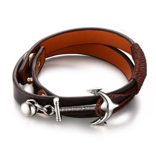 This eye-catching leather bracelet features fine imported quality leather that… - mens gold jewelry on sale, mens designer jewelry, meaningful mens jewelry