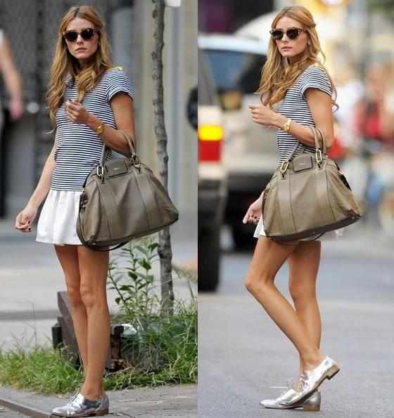Fica super bacana montar looks bem femininos combinados com o sapato masculino. E ó, prata igual ao seu :)
