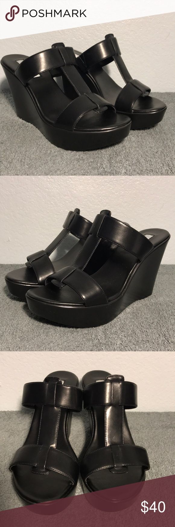 "INC Paciee Synthetic Black Wedge Sandal New in Box. 4.5"" heel. The INC International Concepts Paciee Sandals feature a Synthetic upper. The Man-Made outsole lends lasting traction and wear. INC International Concepts Shoes Wedges"