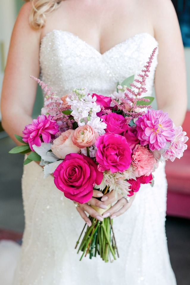Bright fuchsia and pink bouquet