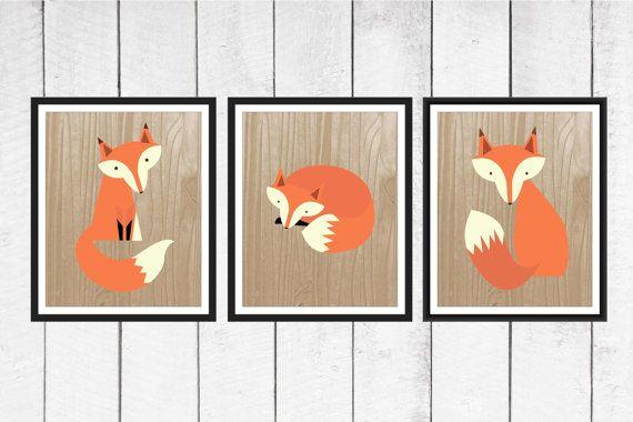 Fox Nursery Decor  3 Piece set  Fox Print Trio by TheEducatedOwl, $20.00
