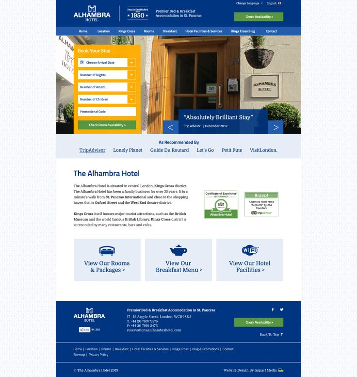Website Layout Design for Kings cross Based Hotel. www.alhambrahotel.com